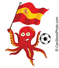 flag., joueur, tenue, football, poulpe, espagne