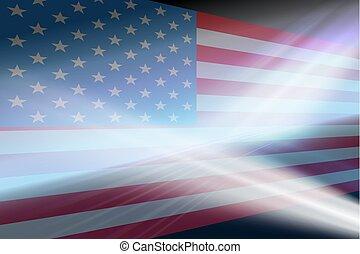 flag., résumé, silhouette, fond, usa