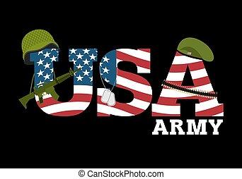 flag., soldats, uni, amrik, américain, usa, sombre, militaire, protecteur, helmet., etats, badge., beret., army., équipement, rifle., automatique, cartouche, fond, logo, ceinture, drapeau, america.