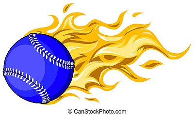 flamboyant, base-ball, brûler, flammes, vecteur, brûlé, balle, dessin animé, softball