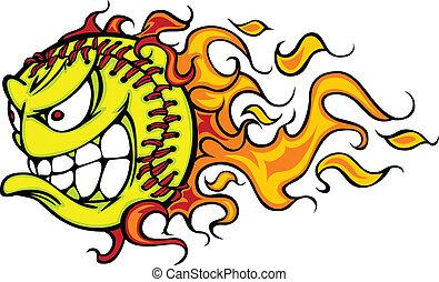 flamboyant, dessin animé, vecteur, softball, figure, fastpitch
