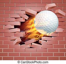 flamboyant, golf, mur, rupture, balle, par, brique