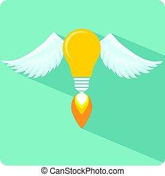 flame., ampoule, ange, lumière, ailes, incandescent