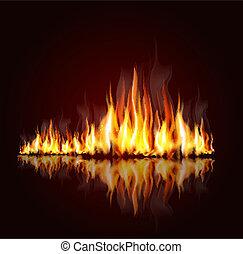 flamme, fond, brûlé