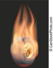 flamme, roue, course