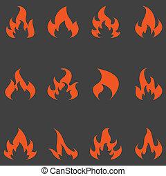 flamme, vecteur, ensemble, icons.