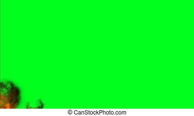 flammes, brûler, écran, brulure, chroma, clef verte, mouvement