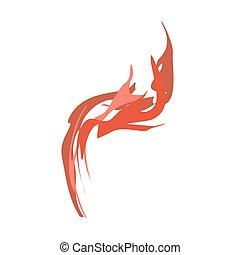 flammes, brûler, isolated., fond, blanc rouge
