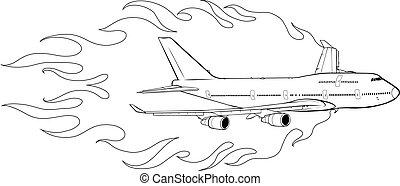 flammes, civil, avion, illustration, vecteur