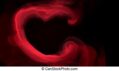 flammes, coeur, fumée, rouges