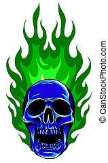 flammes, graphique, crâne, gabarit, vecteur, image