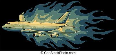 flammes, illustration, vecteur, civil, avion