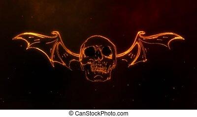 flammes, laser, animation, humain, double, ailé, crâne