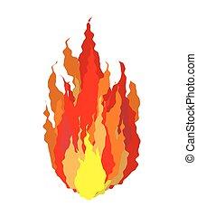 flammes, signe feu, isolated., fond, blanc