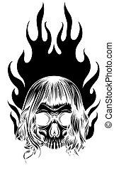 flammes, silhouette, image, noir, graphique, vecteur, gabarit, crâne