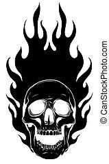 flammes, silhouette, image, noir, vecteur, gabarit, crâne