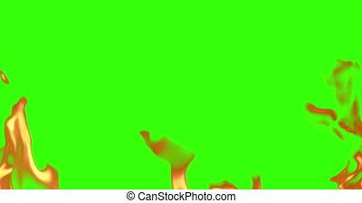 flammes, trame tir, brulure, chroma, seamless, réaliste, arrière-plan vert, clã©, prêt, écran, boucle, mouvement