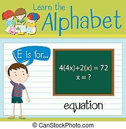 flashcard, équation, e, lettre