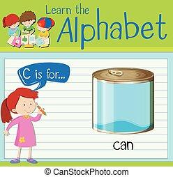 flashcard, c, boîte, lettre