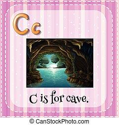 flashcard, c, caverne, lettre