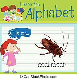 flashcard, c, lettre, cafard