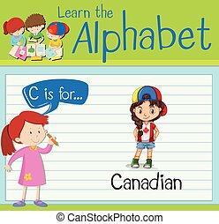 flashcard, c, lettre, canadien
