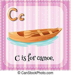 flashcard, c, lettre, canoë