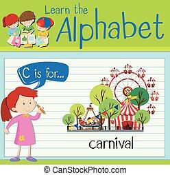 flashcard, c, lettre, carnaval