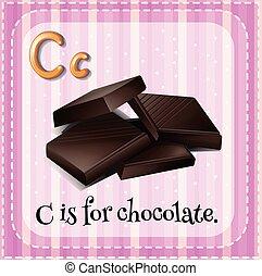 flashcard, c, lettre, chocolat