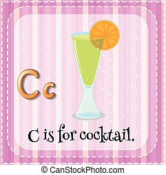 flashcard, c, lettre, cocktail