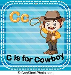 flashcard, c, lettre, cow-boy