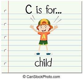 flashcard, c, lettre, enfant