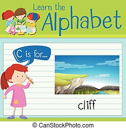 flashcard, c, lettre, falaise