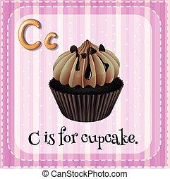 flashcard, c, lettre, petit gâteau