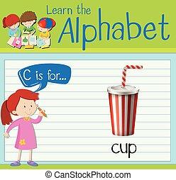 flashcard, c, lettre, tasse