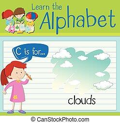flashcard, c, nuages, lettre