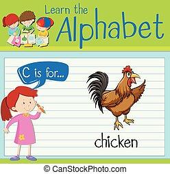 flashcard, c, poulet, lettre