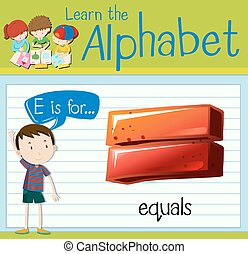 flashcard, e, égale, lettre