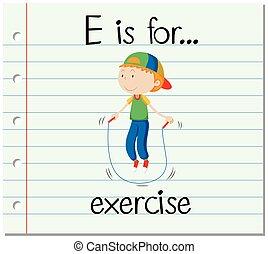 flashcard, e, exercice, lettre