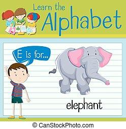 flashcard, e, lettre, éléphant