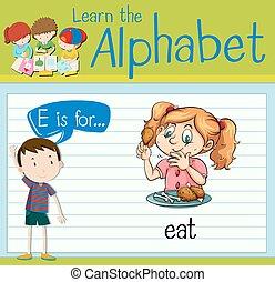 flashcard, e, manger, lettre