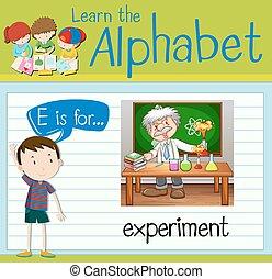flashcard, expérience, e, lettre