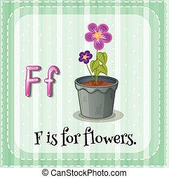 flashcard, fleurs, lettre f