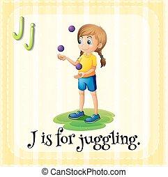 flashcard, j, jonglerie, lettre