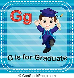 flashcard, lettre g, diplômé