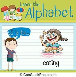 flashcard, manger, e, lettre