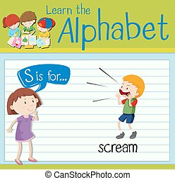 flashcard, s, cri, lettre