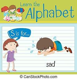 flashcard, s, lettre, triste