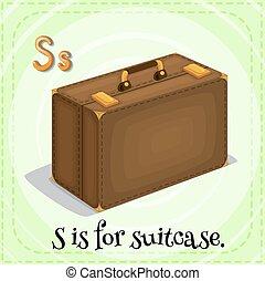 flashcard, s, lettre, valise