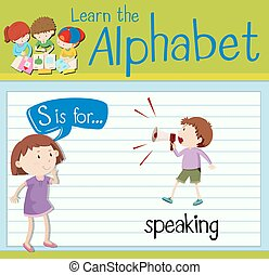 flashcard, s, parler, lettre